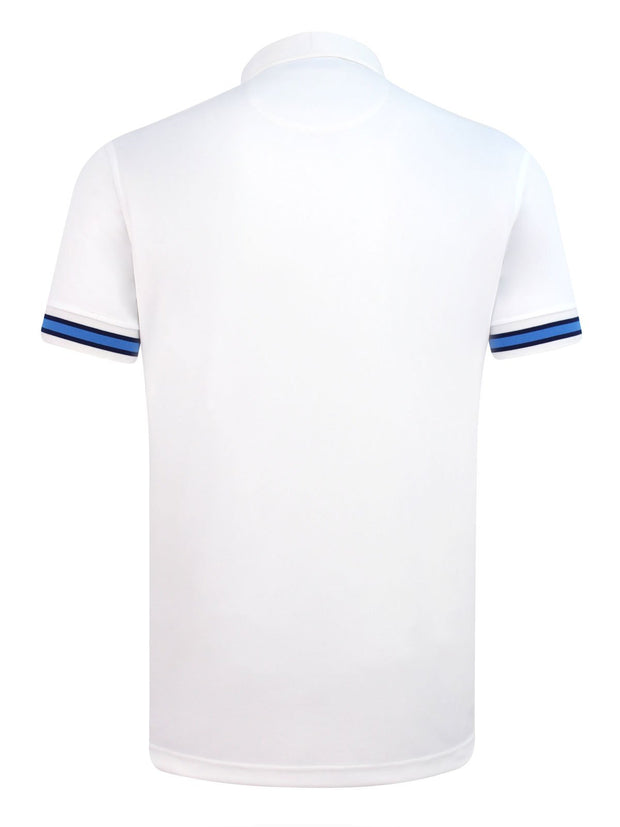 Bunker Mentality Cmax White Mens Golf Shirt with contrast blue tipping - Back