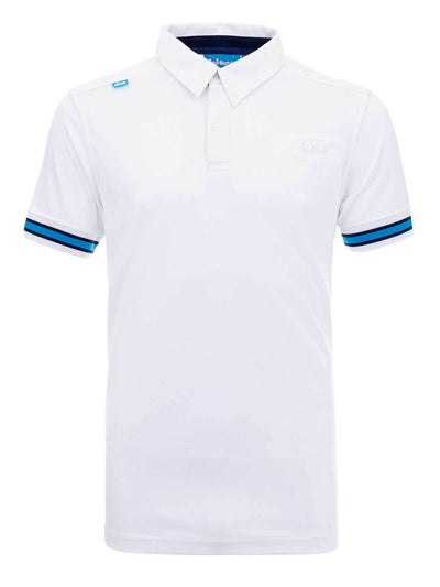 Bunker Mentality Cmax White Mens Golf Shirt with contrast blue tipping - Front