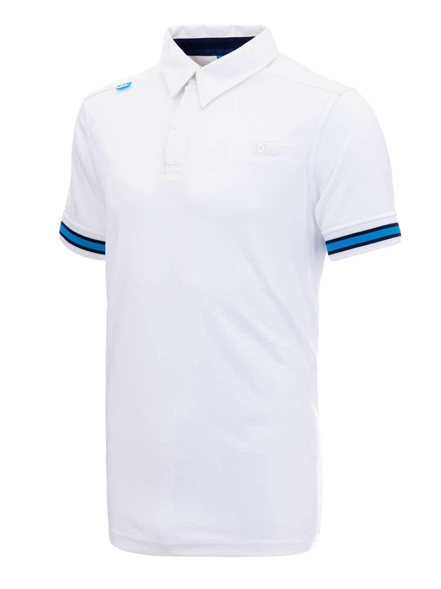 Bunker Mentality Cmax White Mens Golf Shirt with contrast blue tipping - Side