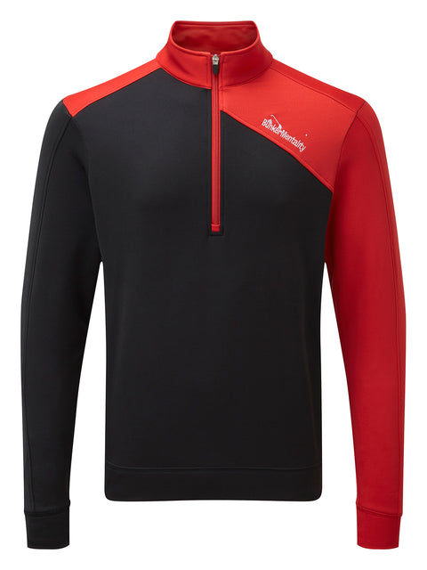 Bunker Mentality Enduro Black Red Quarter Zip Thermal Mid Layer Mens Golf Top - Front