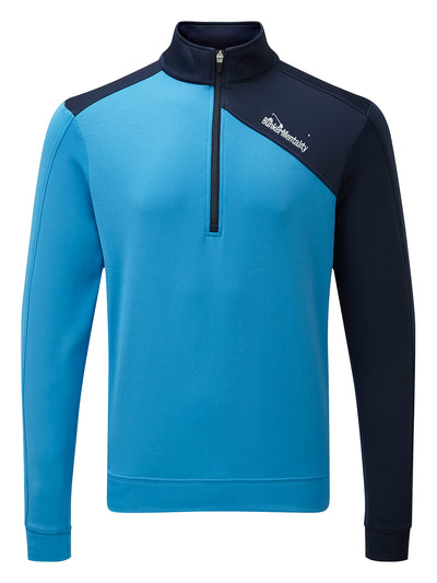 Bunker Mentality Enduro Blue Navy Quarter Zip Thermal Mid Layer Mens Golf Top - Front