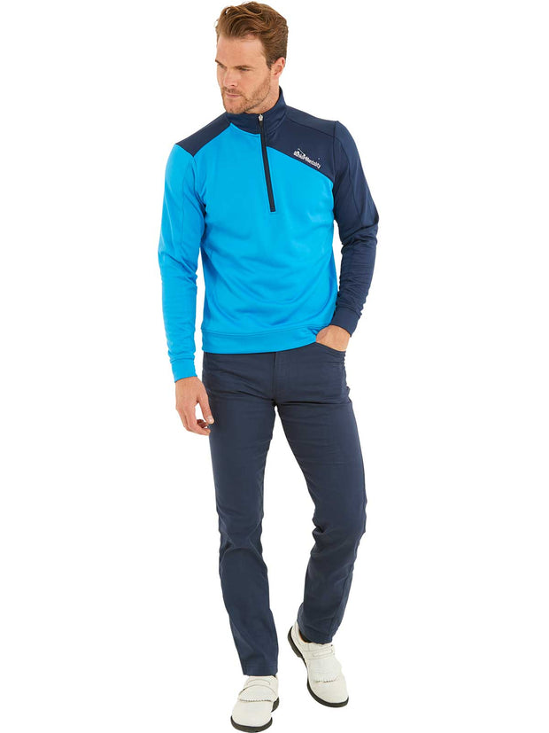 Bunker Mentality Enduro Blue Navy Quarter Zip Thermal Mid Layer Mens Golf Top - Model with Navy Golf Trousers