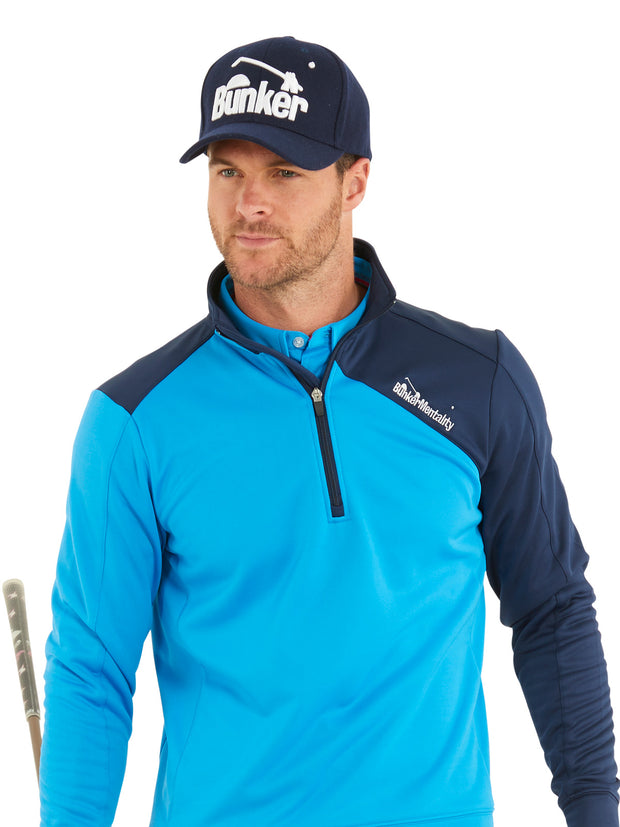 Bunker Mentality Enduro Blue Navy Quarter Zip Thermal Mid Layer Mens Golf Top - Model