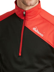 Bunker Mentality Enduro Black Red Quarter Zip Thermal Mid Layer Mens Golf Top - Close Up Zip