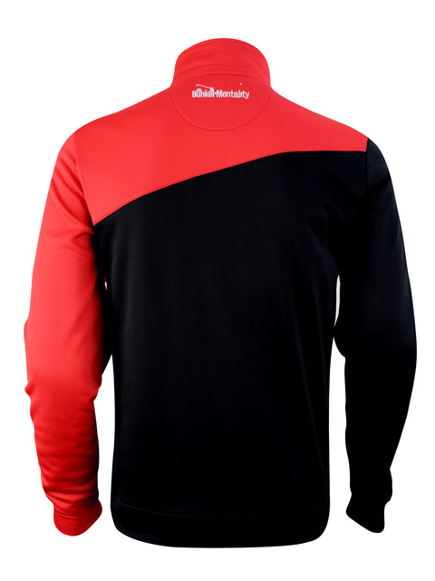 Bunker Mentality Enduro Black Red Quarter Zip Thermal Mid Layer Mens Golf Top - Back