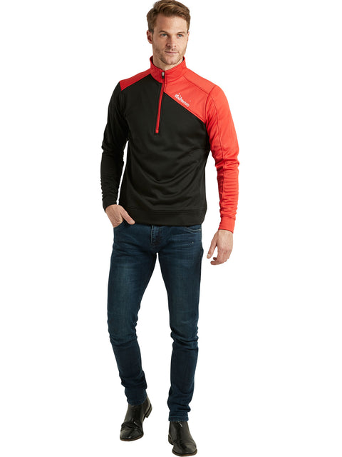 Bunker Mentality Enduro Black Red Quarter Zip Thermal Mid Layer Mens Golf Top - Model in Jeans