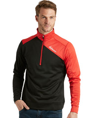 Bunker Mentality Enduro Black Red Quarter Zip Thermal Mid Layer Mens Golf Top - Model