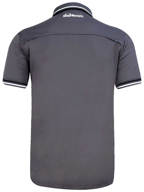 Bunker Mentality Cmax Grey Mens Golf Shirt with contrast White and Black tipping - Back