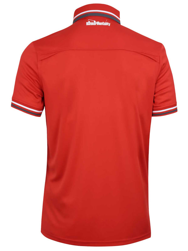Bunker Mentality Cmax Red Mens Golf Shirt with contrast White and Grey tipping - Back
