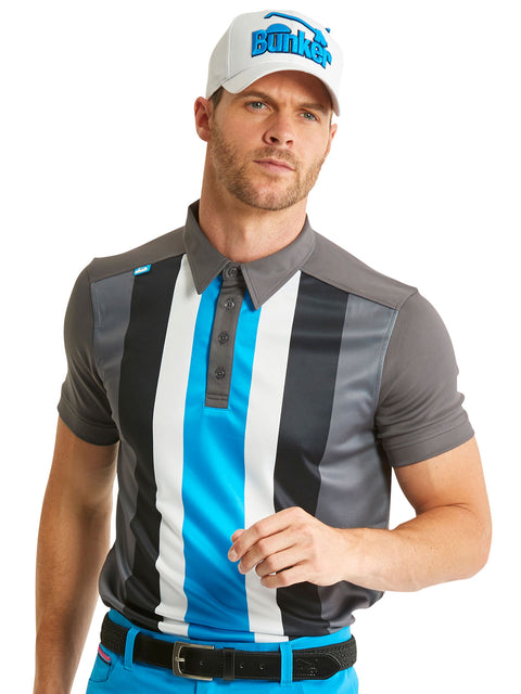 Bunker Mentality Five Vertical Stripe Grey Blue Mens Golf Shirt - Model