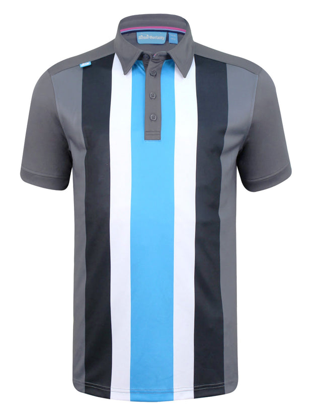 Bunker Mentality Five Vertical Stripe Grey Blue Mens Golf Shirt - Front