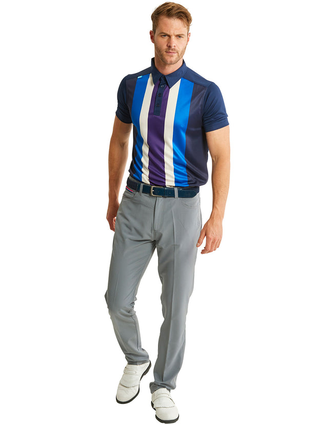 Bunker Mentality Nino Grey Mens Golf Trousers - model with five stripe polo shirt