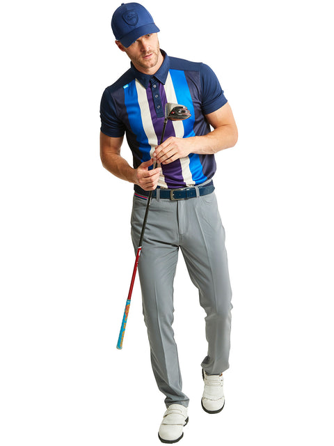 Bunker Mentality Five Vertical Stripe Navy Blue Mens Golf Shirt with Grey Golf Trousers