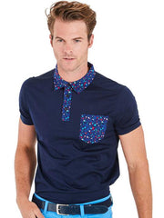 Bunker Mentality Navy cotton mens golf polo shirt with flora pattern on pocket, collar and placket - model