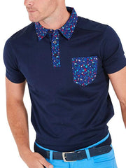 Bunker Mentality Navy cotton mens golf polo shirt with flora pattern on pocket, collar and placket - model close up