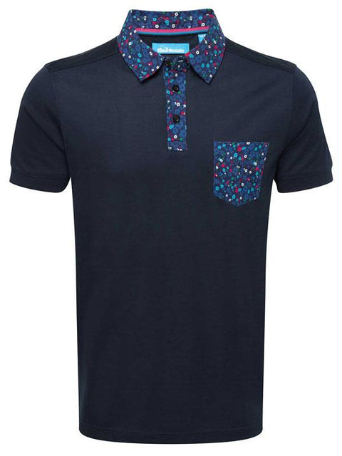 Bunker Mentality Navy cotton mens golf polo shirt with flora pattern on pocket, collar and placket - front