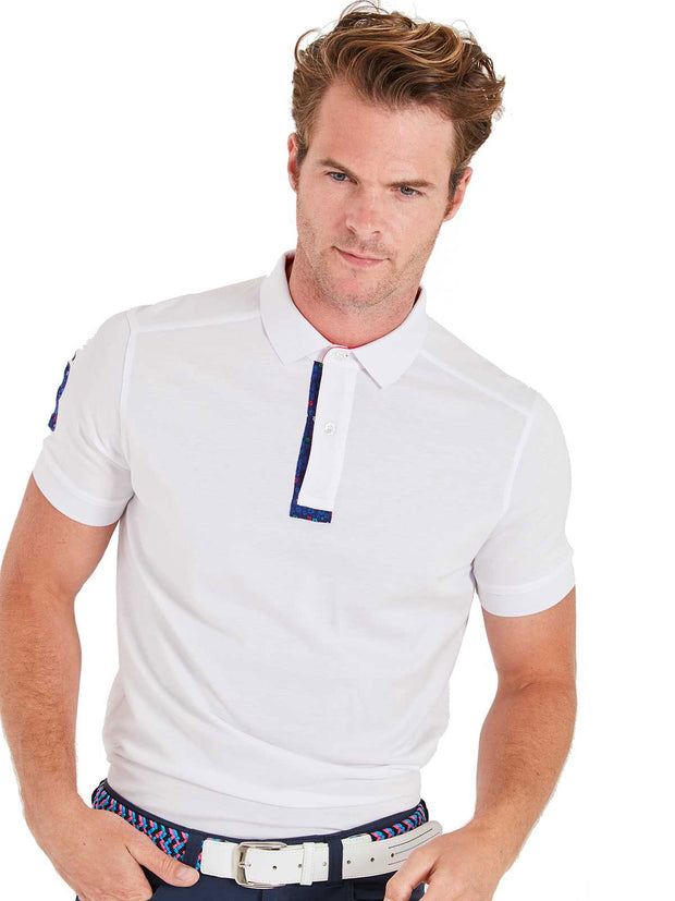 Bunker Mentality White Mens Cotton Golf Shirt with floral print to inner placket - Model 2