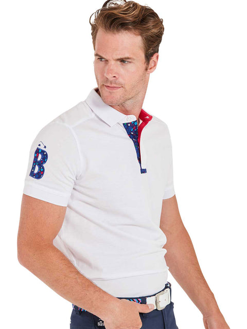 Bunker Mentality White Mens Cotton Golf Shirt with floral print to inner placket - Model