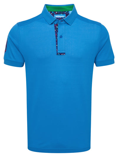 Bunker Mentality Blue Mens Cotton Golf Shirt with floral print to inner placket - Front