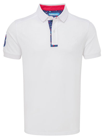 Bunker Mentality White Mens Cotton Golf Shirt with floral print to inner placket - Front