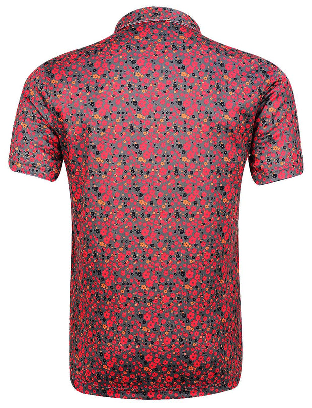 Bunker Mentality Cmax Grey Mens Golf Shirt with all over floral pattern- Back