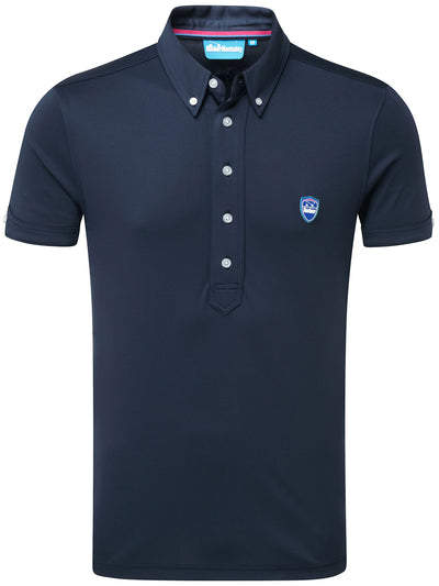 Bunker Mentality Cmax Navy Golf Shirt with Button Down Collar - Front