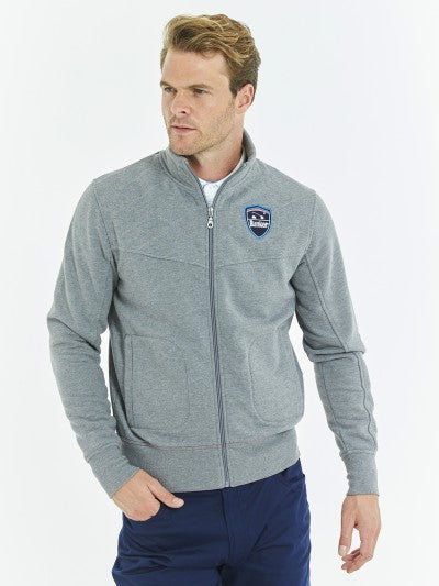 Bunker Mentality grey cotton full zip mens golf layer top with bunker shield logo - model
