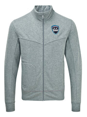 Bunker Mentality grey cotton full zip mens golf layer top with bunker shield logo - front