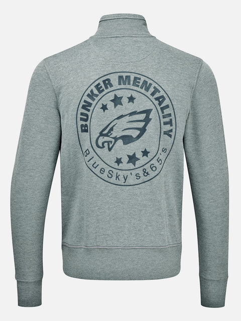 Bunker Mentality grey cotton full zip mens golf layer top with eagle logo print on back - front