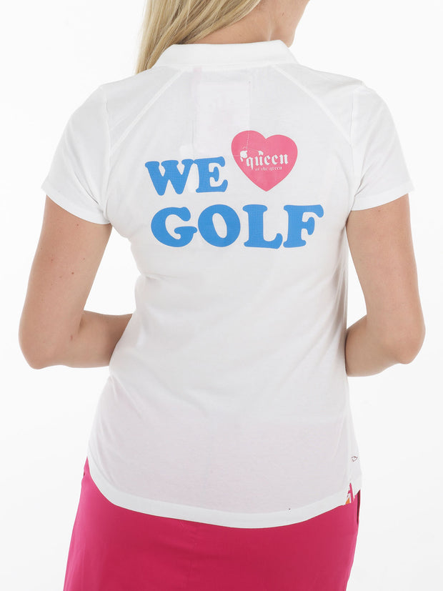 Queen of the green white womens golf polo shirt with we heart golf on back - Back