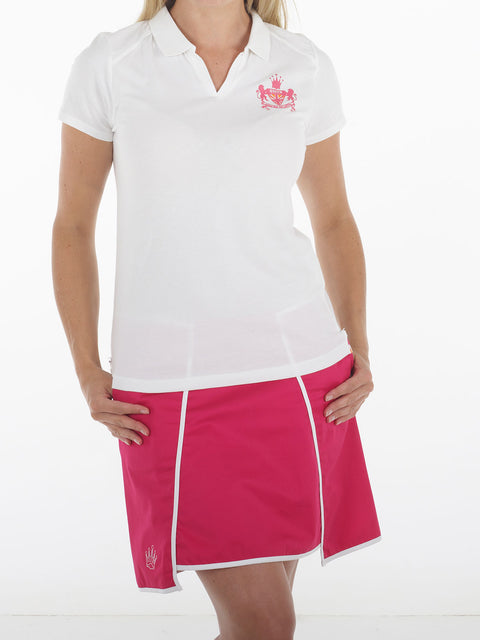 Queen of the green white womens golf polo shirt with we heart golf on back - Front