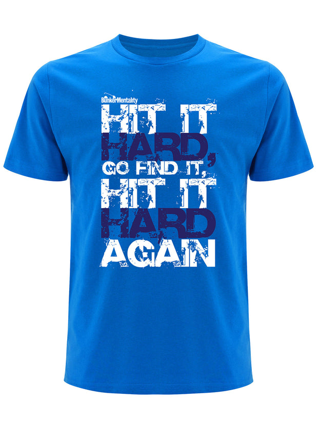 Bunker Mentality Hit It Hard Graphic Print Bunker Blue Mens Golf T Shirt - Front
