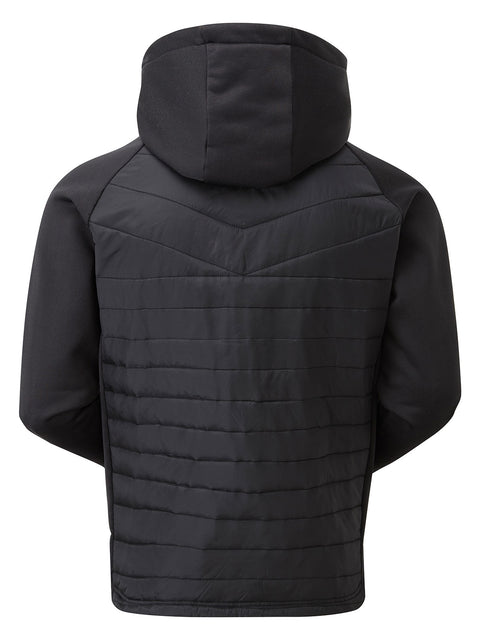 Bunker Mentality Black Tech Hoodie Clo Insulated Thermal Padded Mens Golf Wind Jacket - Back
