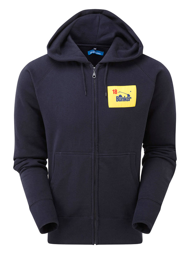 Bunker Mentality Navy Golf Hoodie with Bunker Flag Patch