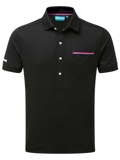 Bunker Mentality Cmax Black Golf Shirt with Patch Pocket - Front