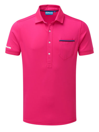 Bunker Mentality Cmax Hot Pink Golf Shirt with Patch Pocket - Front