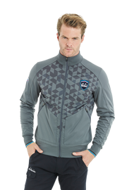 Bunker Mentality Jameston Grey Mens Windproof Golf Jacket with Full Zip and Geometric Print On Top Half - Model