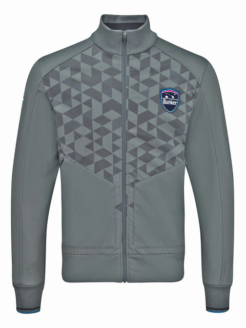 Bunker Mentality Jameston Grey Mens Windproof Golf Jacket with Full Zip and Geometric Print On Top Half - Front