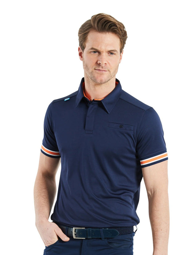 Bunker Mentality Cmax Navy Mens Golf Shirt with contrast orange and White tipping - Model