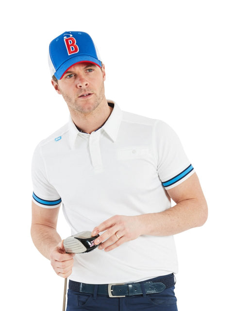 Bunker Mentality Cmax White Mens Golf Shirt with contrast blue tipping - Model