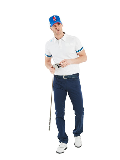Bunker Mentality Cmax White Mens Golf Shirt with contrast blue tipping - Model Wearing Navy Golf Trousers