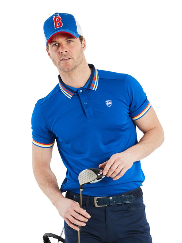 Bunker Mentality Electric Blue Mens Golf Polo Shirt with Four Pinstripe Contrast tipping on sleeves and collar - Model