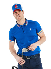 Bunker Mentality Bunker B Trucker Golf Cap - Blue Front with Red B and White Mesh Back - On Model