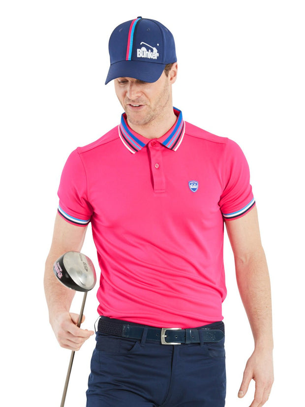 Bunker Mentality Pink Mens Golf Polo Shirt with Four Pinstripe Contrast tipping on sleeves and collar - Model
