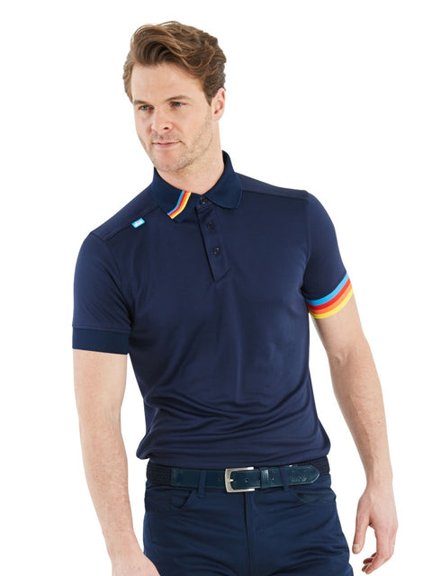 Bunker Mentality Kobi Navy Mens Golf Polo Shirt with Multi Colour Left Cuff and Detail on Collar - Model