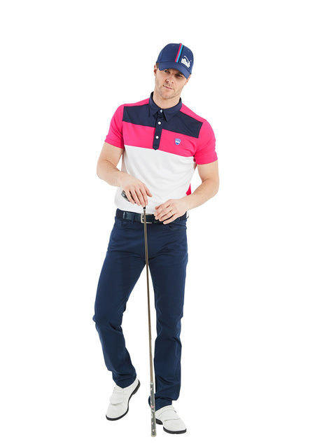 Bunker Mentality Cmax Leon Mens Golf Polo Shirt with Deep Pink White and Navy Panels on Top Quarter - Model Wearing Navy Golf Trousers