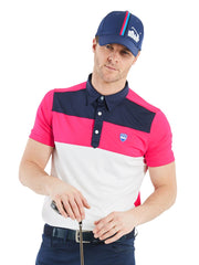 Bunker Mentality Cmax Leon Mens Golf Polo Shirt with Deep Pink White and Navy Panels on Top Quarter - Model