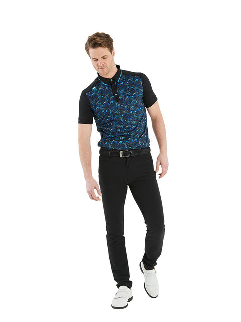 Bunker Mentality Black Golf Shirt with Blue Paisley Print. Solid Black Arms - Model wearing Black Golf Trousers