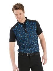 Bunker Mentality Black Golf Shirt with Blue Paisley Print. Solid Black Arms - Model Shot