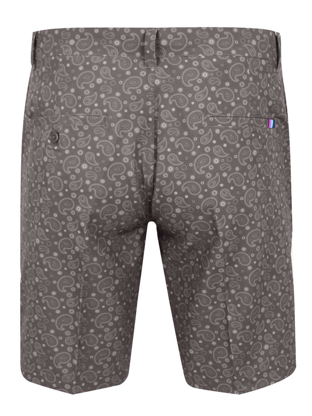 Bunker Mentality Kade Grey Printed Paisley Pattern Mens Golf Shorts - Back